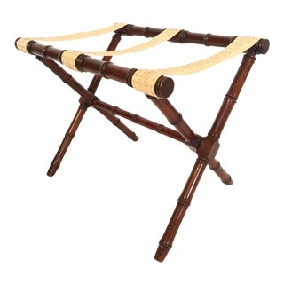 Dorothy Draper Style Faux Bamboo Carved Wood Luggage Rack by Kindel