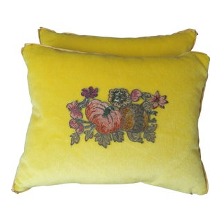 Petite Yellow Velvet Pillows w/ Floral Appliques - A Pair