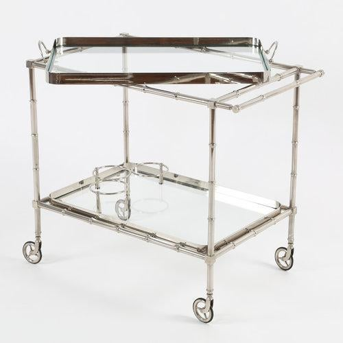 1960S SWEDISH POLISHED-NICKEL, FAUX-BAMBOO BAR CART ON CASTERS - Image 10 of 10