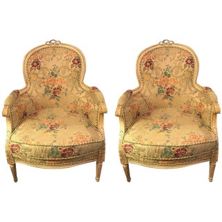 Pair of Louis XVI Style Cream Painted Bergères with Custom Floral Upholstery