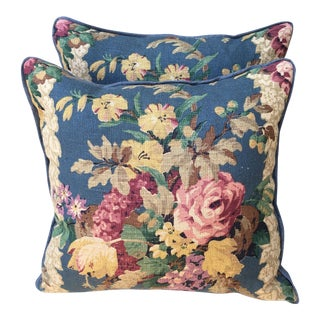 Floral Printed Linen Pillows - A Pair