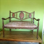 Image of Small Carved English Settee Sofa