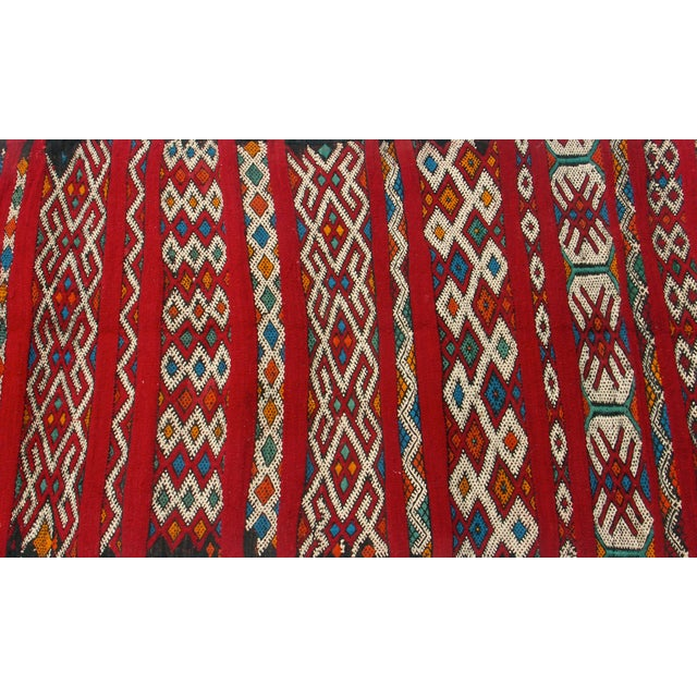 "Red Moroccan Berber Tribal Kilim Rug 3' 2"" X 5' 3"""