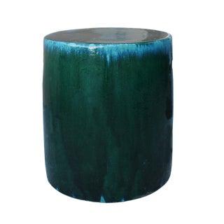 Chinese Ceramic Clay Green Turquoise Glaze Round Flat Column Garden Stool