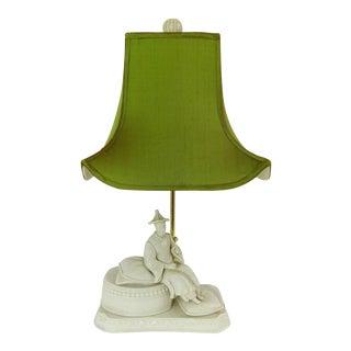 Vintage Seated Emporer Figure Blanc De Chine Table Lamp