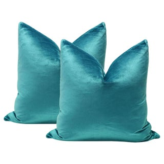 "20"" Italian Silk Velvet Pillows in Caribbean - a Pair"