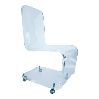 Mid-Century Modern Thick Lucite Side Chair on Casters