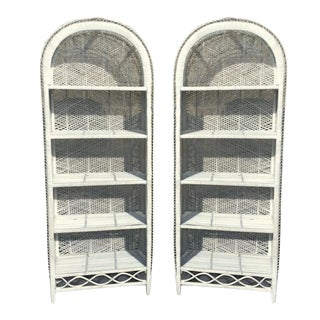 Vintage Boho Chic Rattan Bookcases - A Pair