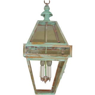Four Sides Architectural Hanging Copper Lantern