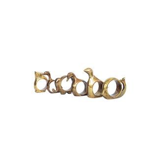 Vintage Brass Animal Napkin Rings - Set of 6