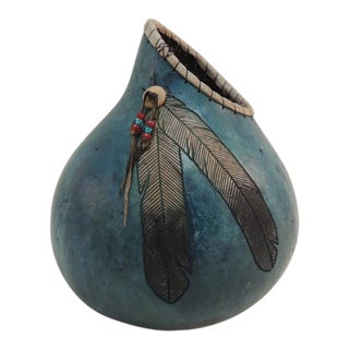 American Indian Painted Gourd Vase
