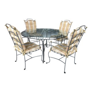 Round Glass Table and Brass & Brushed Metal Chairs - Set of 5