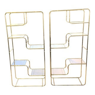 Regency Brass & Glass Etageres - A Pair