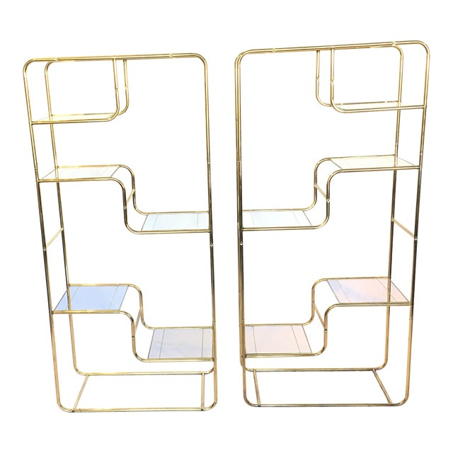 Image of Regency Brass & Glass Etageres - A Pair