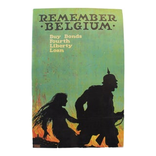 1918 Vintage American WWI Poster, Remember Belgium