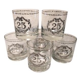 Vintage 25th Anniversary Lo-ball Glasses - Set of 6