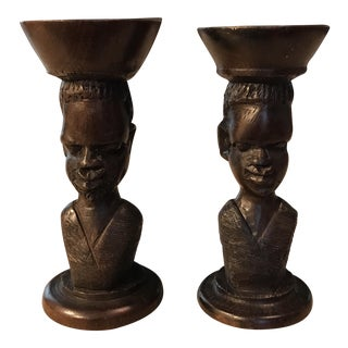 Handcarved African Candle Holders - A Pair