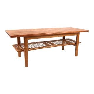 Vintage Danish Teak Coffee Table With Cane Shelf