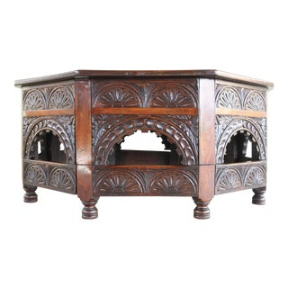 Antique Kittinger Carved Solid Rosewood Moroccan Style Coffee Table