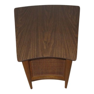 Lane Mid-Century Side Table With Caned Shelf
