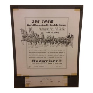 Original 1947 Anheuser Busch/Budweiser Clydesdale Horse Newspaper Advertising
