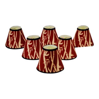 Set of 6 NOS Tapered Chandelier Lamp Shades Red and Tan Bamboo Design with Black Trim