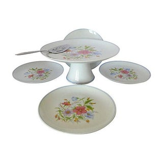 Vintage Floral Cake Set & Serving Knife - Set of 6
