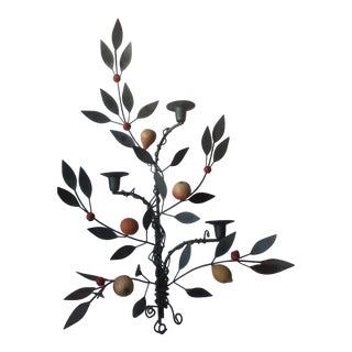 Painted Tole Candle Wall Sconce With Fruits