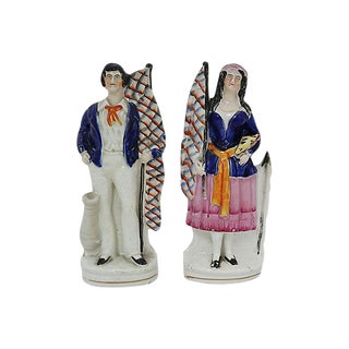 Antique English Staffordshire Sailor & Wife