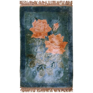 "1980s Handmade Vintage Chinese Silk Mat Rug - 1' x 1'5"""