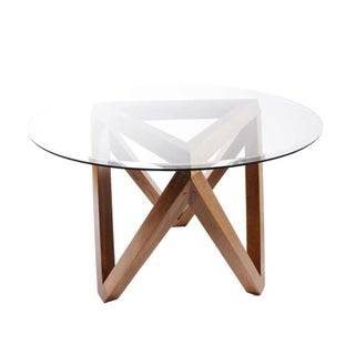 Round Dining Table with Wood Beam Base