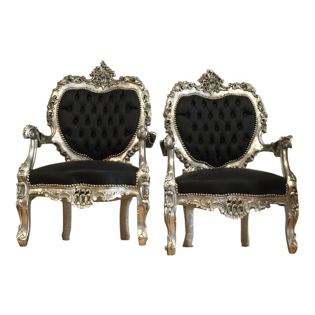 Black Silver Tufted Throne Chairs - A Pair - Image 1 of 3