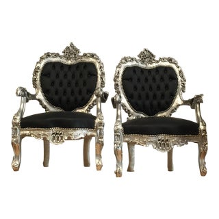 Black Silver Tufted Throne Chairs - A Pair
