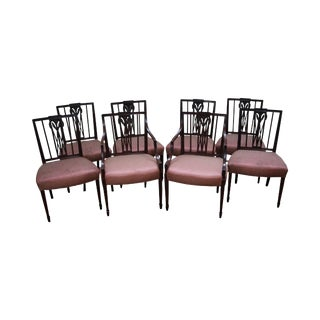 Antique 1940s Mahogany Hepplewhite Style Dining Chairs - Set of 8
