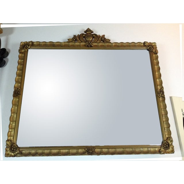 Antique Gilded Crested Wooden Wall Mirror - Image 4 of 8