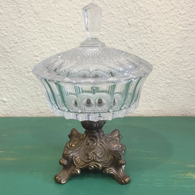 Antique Cut Glass and Bronze Candy Dish - Image 2 of 6