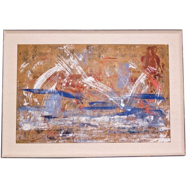 Red, White & Blue Abstract Oil Painting - Image 1 of 5