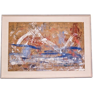 Red, White & Blue Abstract Oil Painting