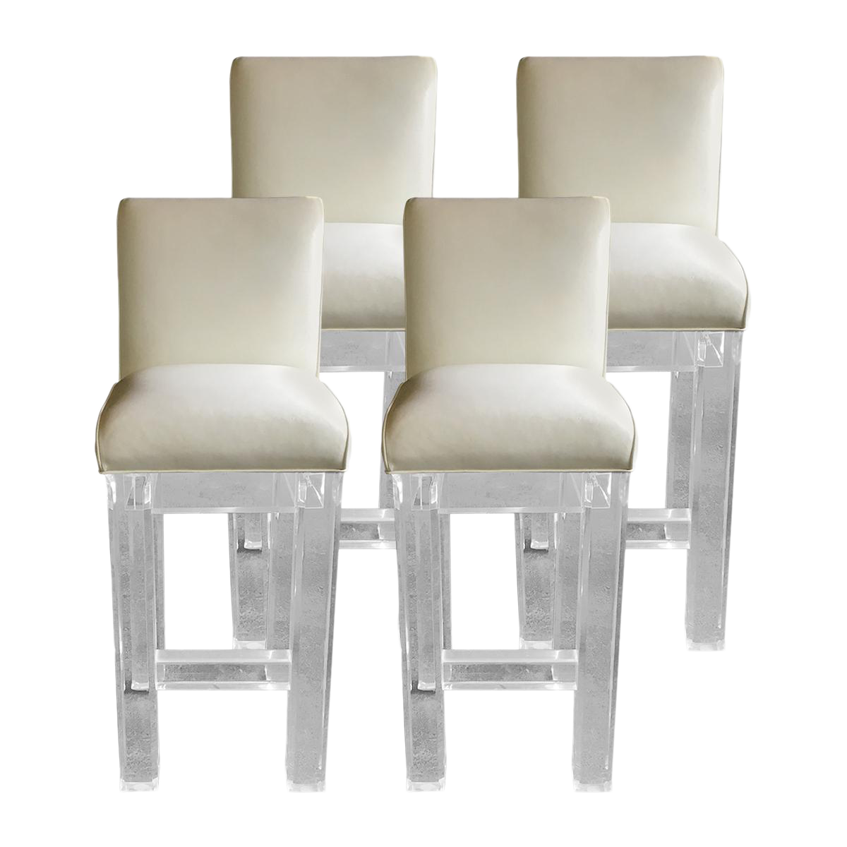 lucite u0026 leather bar stools set