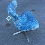 """Image of Blue Indian Kantha Fabric """"Elvis"""" Swivel Chair"""
