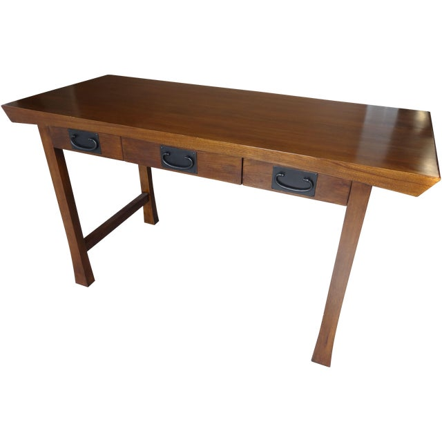 Maria yee asian style hardwood shinto desk chairish for Asian inspired desk