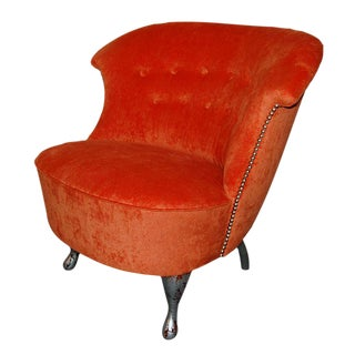 Vintage Orange Bamboo Velvet Slipper Chair