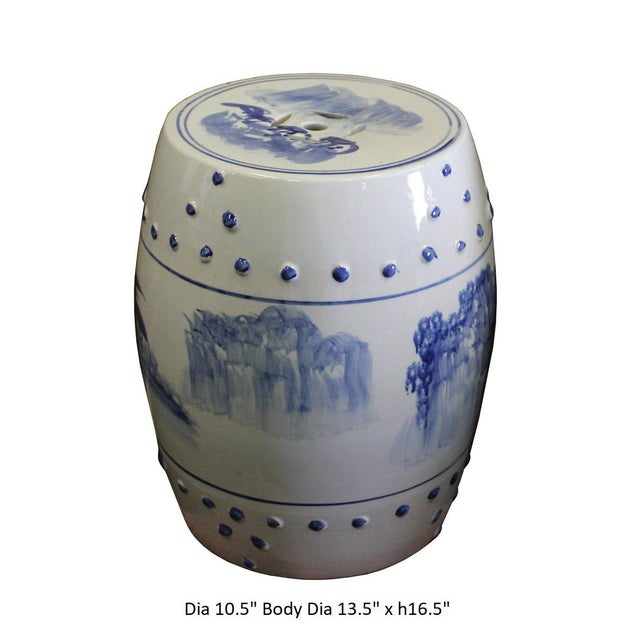 Chinese Blue & White Porcelain Scenery Round Stool Table - Image 7 of 7
