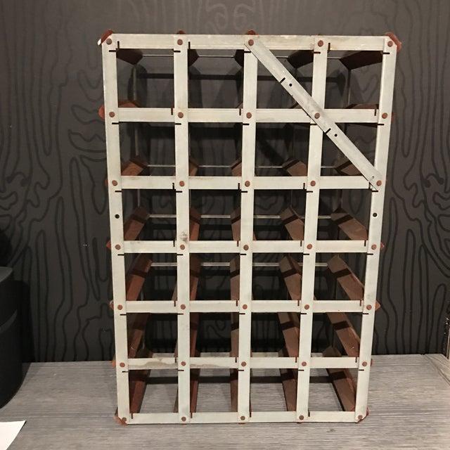 Image of Mid-Century Wood and Metal Wine Rack
