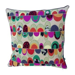 Colorful Embroidered Patchwork Pillow