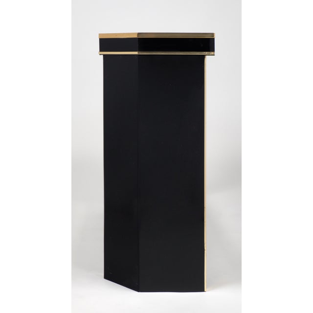 1960s French Black Lucite with Brass Console Table - Image 6 of 9