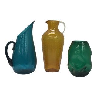 Mid-Century Blenko Pitchers and Vase - Set of 3