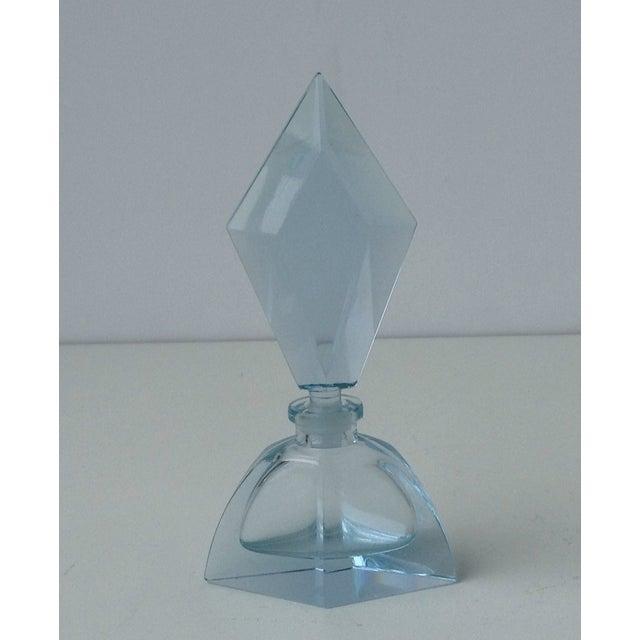 Czechoslovakian Light Blue Faceted Perfume Bottle - Image 2 of 11