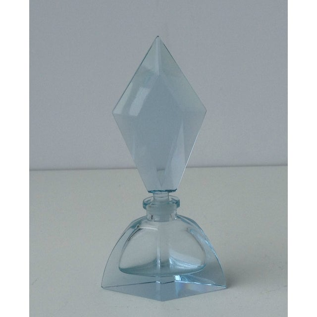 Image of Czechoslovakian Light Blue Faceted Perfume Bottle