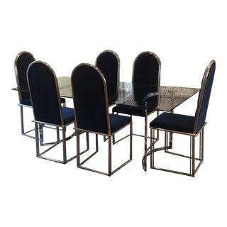 Chrome Dining Table & 6 Tufted Velvet Chairs- Set of 7